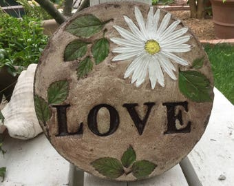 "9 in. Concrete "" LOVE"" stepping stone/garden stone/garden decor/garden concrete stone"