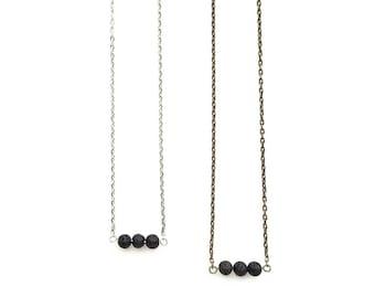 Petite Lava Bar Diffusing Necklace / Minimal Diffuser Necklace / Essential Oil Dainty Necklace / Minimalist Oil Bead Diffuser Jewelry