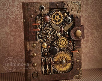 "Steampunk journal A6 Steampunk art ""Ammunition"" blank notebook brown diary Steampunk Accessories Black page journal Mechanical engineer gift"