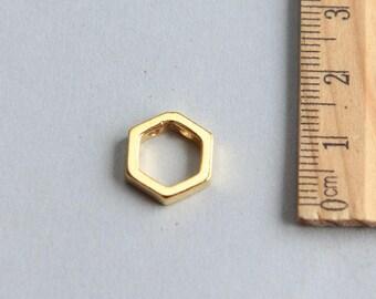 SALE, Hexagon Charm, Hexagon Pendant, 24K Gold plated sterling silver Hexagon charm, Geometric charm, Gold Hexagon, 13mm(1 piece)