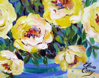 Teal Original Painting 11 x 14 Canvas art Acrylic art by Elaine Cory