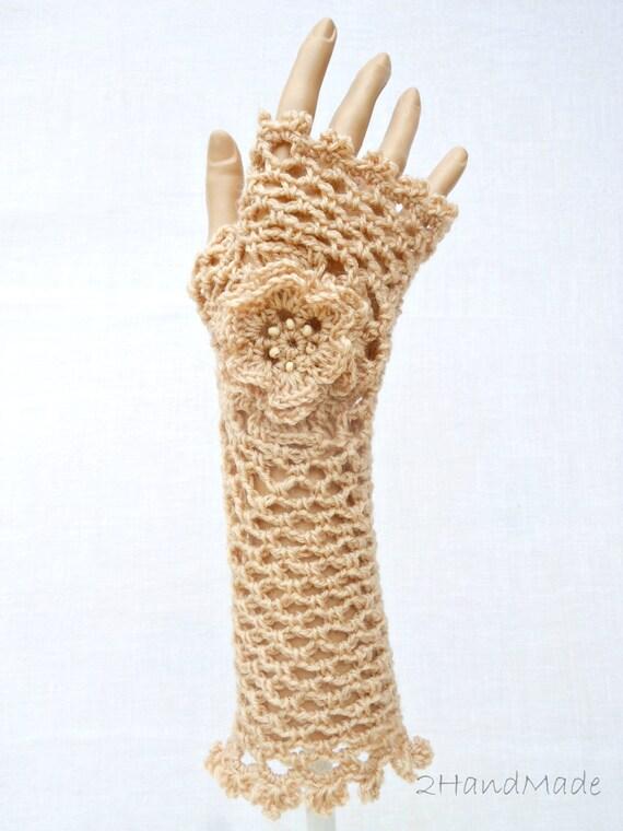 Encaje irlandés Crochet guantes sin dedos mano