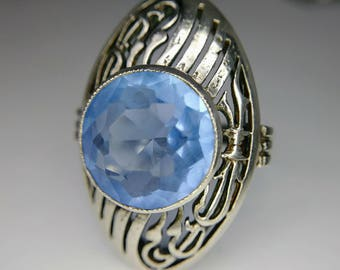 1800s Antique Sterling Silver Ring with Blue Glass