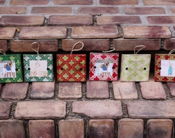 Photo ornament;Picture frame Christmas ornaments; distressed wooden ornament; home decor; Christmas tree ornaments