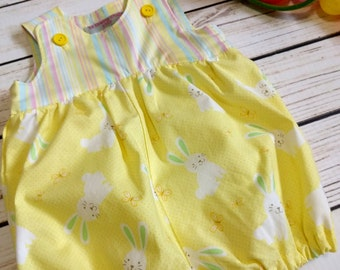Baby bunny romper, Baby Easter romper, Baby bubble romper bunnies,Bunnies baby romper,Bunnies bubble romper,First Easter 6-12m Ready to ship