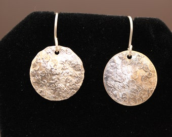 Pretty and Petite Sterling Silver Dressy Etched Earrings (052018-014)