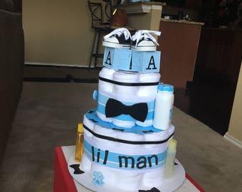 Lil Man Theme Diaper Cake