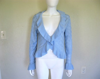 Light Blue Knit Ruffle long sleeve Sweater Top - Large