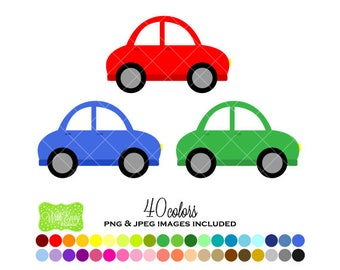 SALE  Car Digital Clipart - Rainbow Car Clipart - Automobile Clipart - Car Graphics - Personal and Commercial Use