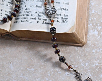 Queen of Flowers - Garnet and Bronze Catholic Rosary by the Peaceful Bead