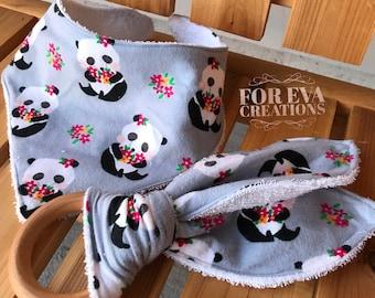 Baby Bandana Bib and Organic Wooden Teether   Panda Print
