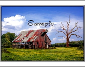 Barely Hanging On, Old Barn Fine Art Photo Card