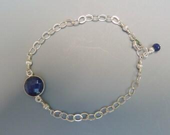 Stackable Bracelet, Sapphire Bracelet, Gemstone Layering Bracelet, Delicate Bracelet, Sapphire Stacking Bracelet, September Birthday