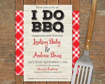 I do BBQ engagement invitation, customizable, printable