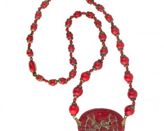 Art Deco red pressed glass necklace, Czechoslovakia nlbg2128(e)