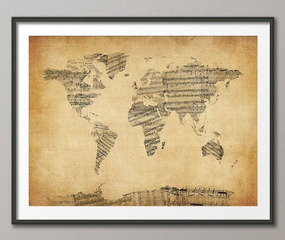 Map of the world map sheet music art print 948 gumiabroncs Images