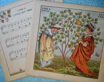 1877 I Had a Little Nut Tree Walter Crane Lithograph Prints Victorian