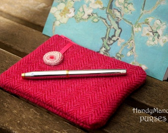 Harris Tweed Purse, Pink Purse, Herringbone Purse, Liberty Purse, Hera, Travel Organizer, Camera Case, Key Wallet, Wool Purse, Peacock
