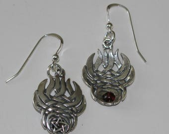 Sterling Silver PENTACLE WITH FLAMES Earrings - Wiccan, Pagan, Celtic