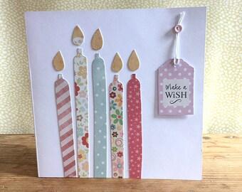 Handmade birthday card, birthday cake candles, make a wish, birthday card