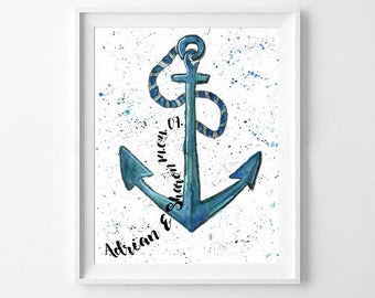 Custom Couples Anchor Print A4 Matte Watercolour Print