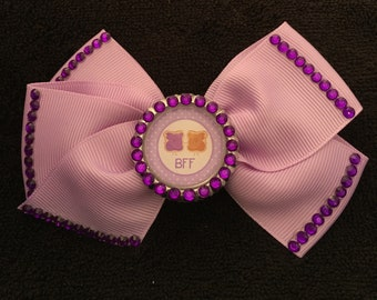 Unique And Adorable Purple Peanut Butter And Jelly BFF Hair Bow