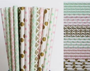 Pink Mint Gold Paper Straws, Unicorn Birthday Party, First Birthday, Gender Reveal, Bridal Shower Decor,vintage wedding, baby, cake pop