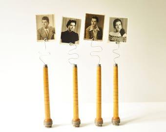 Vintage Repurposed Factory Wooden Spools - Photo Holders - Message Holders - Memo Clips - DIY - Wedding Decoration - Vintage Industrial