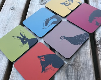 Countryside hardwood cork backed coasters 95mm x 95mm - Hare, Pheasant, Owl, Fox, Badger and hedgehog (pack of 6)