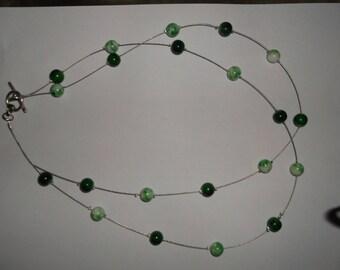 """Emerald"" green MULTISTRAND necklace"