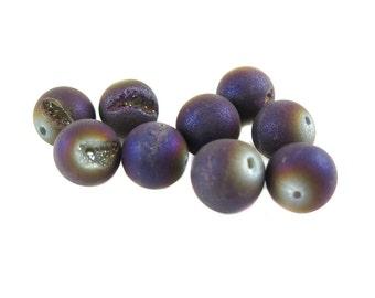 Purple Titanium Electroplated Quartz Beads - (NS551) (6x)