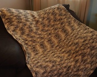 White and Brown Variegated Double thick afghan/blanket