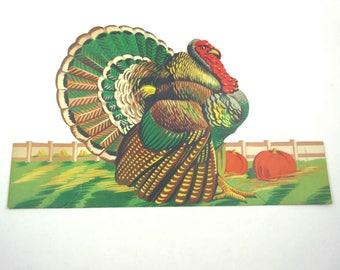 Vintage Turkey Pumpkin Harvest Die Cut Thanksgiving Decoration