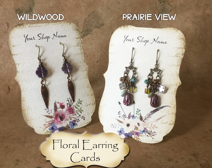 36•Zoe•PRAIRIEVIEW & WILDWOOD•2.5 x 3.5 inch Tent Cards•Earring Card•Jewelry Card•Earring Display•Necklace Card•Earring Holder•Tent Card