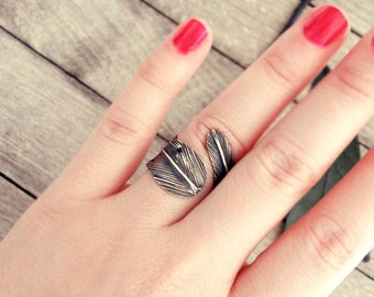 feather ring, open ring, adjustable ring, silver ring, oxidized silver, ethnic ring, bohemian ring, ethnic ring, tribal jewelry, indian ring