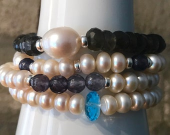 Pearl bracelet Freshwater Pearls with Grauachat 925 silver