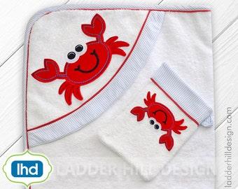 Crab Applique - Crab Applique Embroidery Design -- Pinch Me I'm Cute -- Crab Applique Summer Machine Embroidery Design WA024