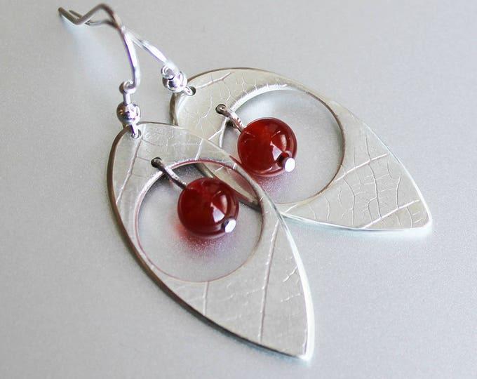 Gemstone Drop, Leaf Earrings, Sterling Silver earrings, Silver Jewellery, Leaf Earrings.