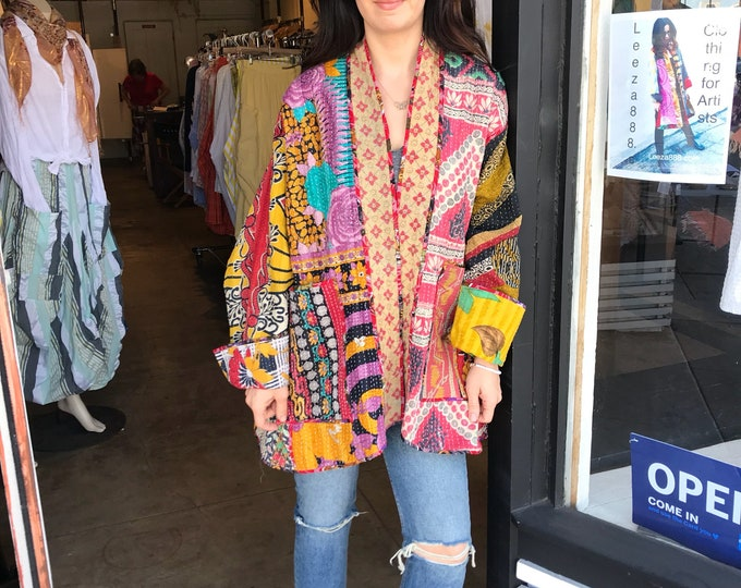 Reversible plus size cotton kantha kimono