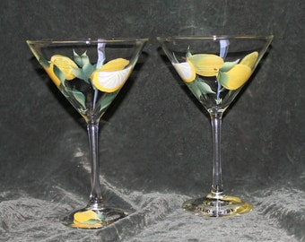 Hand Painted Martini Glasses - with Lemons (Set of 2)