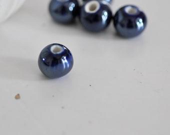 Set of 5 porcelain round beads teal iridescent 1.4 cm