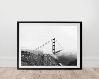 Golden Gate Bridge Print - Black And White Photography, Digital Download, San Francisco Wall Art, Minimalist Print, Livingroom Wall Art
