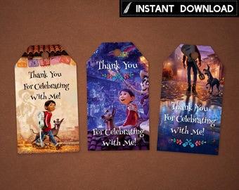 Instant Download - Coco Thank You Tags Birthday Party Miguel Dante Hector Printable DIY - Digital File