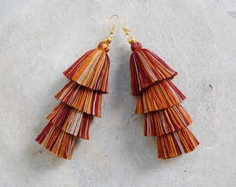 4 Tired Earthy Brown Tassel Earrings with Gold Beads