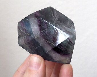 Rainbow Fluorite freeform crystal with rare blue