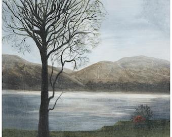 Original Acrylic Scottish Landscape Painting 'Loch at Dusk' on canvas REDUCED