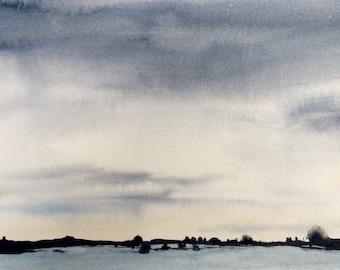 Landscape painting, landscape watercolor, Sky painting, Sky watercolor, winter landscape, watercolor painting, minimal landscape, Sky