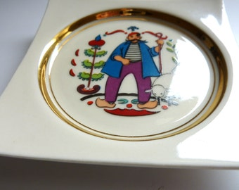 Vintage Wall Plate Sheep Herder with a Giant Moustache and Red Beret - Made by hyalyn