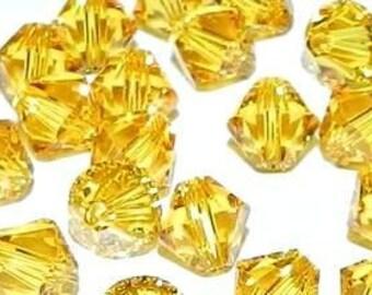 Swarovski Sunflower Yellow Crystal Bicone 4mm Xilion Qty 24