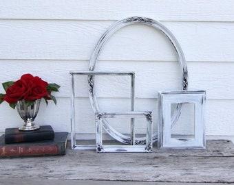 Set of 4 Open Frames - White Picture Frame Set - Wall Gallery - Nursery - Wedding - Vintage Frames - Farmhouse - Boho Chic - Ocean - Shabby